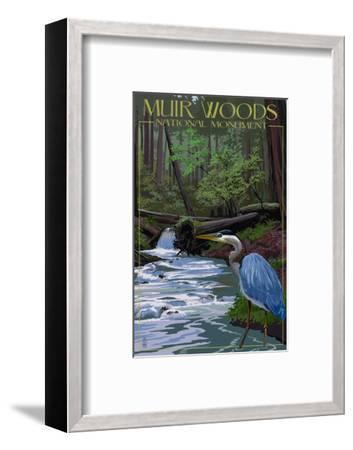 Muir Woods National Monument, California - Blue Heron-Lantern Press-Framed Art Print