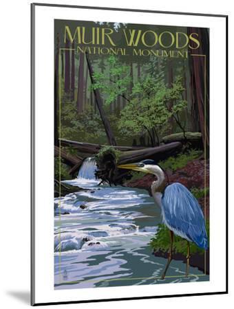 Muir Woods National Monument, California - Blue Heron-Lantern Press-Mounted Art Print