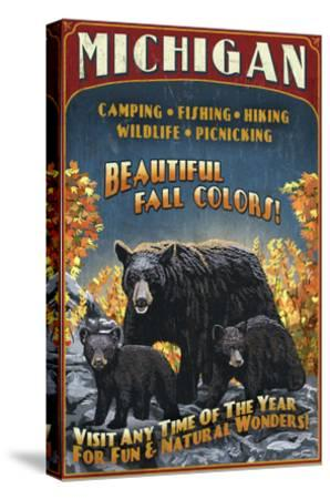 Michigan - Black Bears and Fall Colors-Lantern Press-Stretched Canvas Print