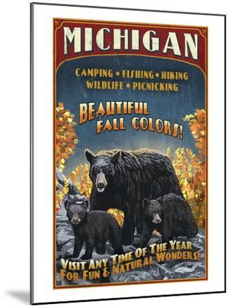 Michigan - Black Bears and Fall Colors-Lantern Press-Mounted Art Print