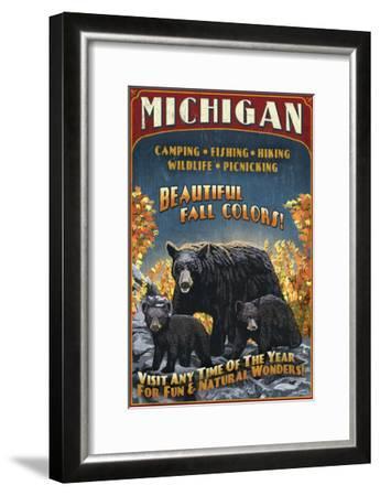 Michigan - Black Bears and Fall Colors-Lantern Press-Framed Art Print