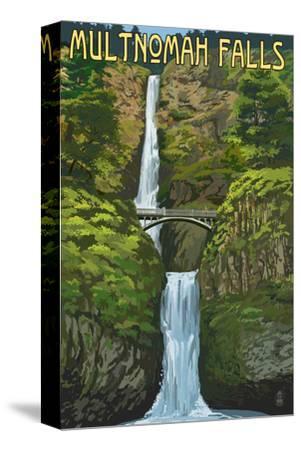 Multnomah Falls, Oregon - Summer View-Lantern Press-Stretched Canvas Print