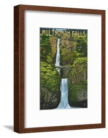 Multnomah Falls, Oregon - Summer View-Lantern Press-Framed Art Print