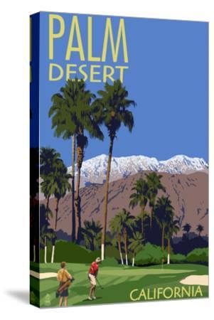 Palm Desert, California - Golfing Scene-Lantern Press-Stretched Canvas Print