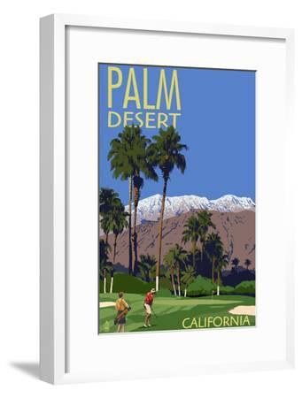 Palm Desert, California - Golfing Scene-Lantern Press-Framed Art Print
