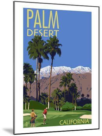 Palm Desert, California - Golfing Scene-Lantern Press-Mounted Art Print