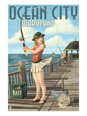 Ocean City, Maryland - Fishing Pinup Girl-Lantern Press-Stretched Canvas Print