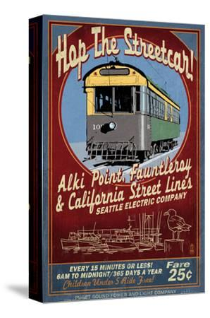 Seattle, Washington - West Seattle Streetcar-Lantern Press-Stretched Canvas Print