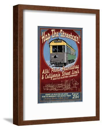 Seattle, Washington - West Seattle Streetcar-Lantern Press-Framed Art Print
