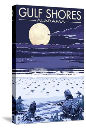 Gulf Shores, Alabama - Sea Turtles-Lantern Press-Stretched Canvas Print