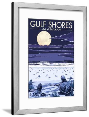 Gulf Shores, Alabama - Sea Turtles-Lantern Press-Framed Art Print