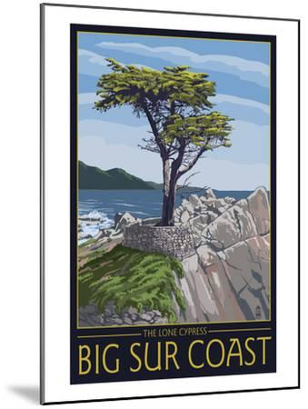 Big Sur Coast, California - Lone Cypress Tree-Lantern Press-Mounted Art Print
