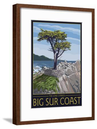 Big Sur Coast, California - Lone Cypress Tree-Lantern Press-Framed Art Print
