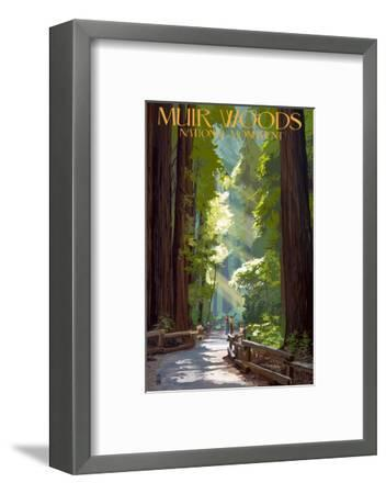 Muir Woods National Monument, California - Pathway-Lantern Press-Framed Premium Giclee Print