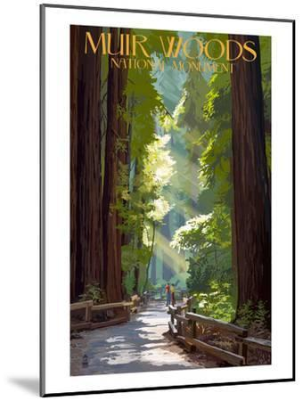 Muir Woods National Monument, California - Pathway-Lantern Press-Mounted Premium Giclee Print