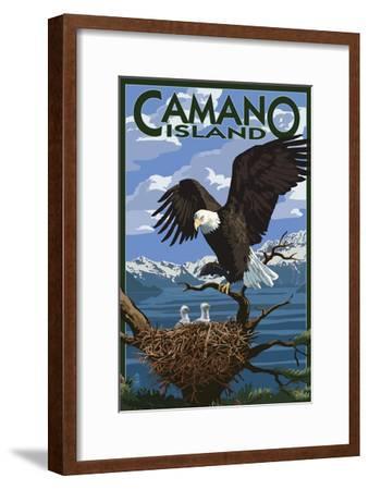 Camano Island, Washington - Bald Eagle and Chicks-Lantern Press-Framed Art Print