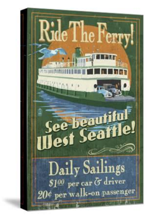 West Seattle Ferry-Lantern Press-Stretched Canvas Print