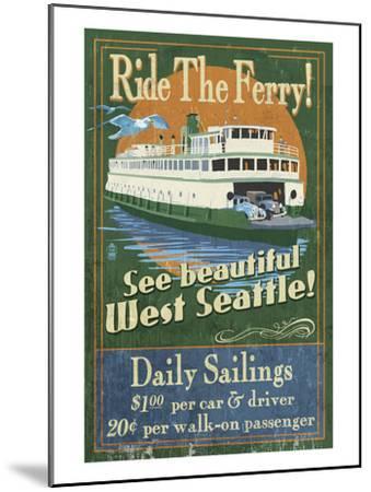 West Seattle Ferry-Lantern Press-Mounted Art Print