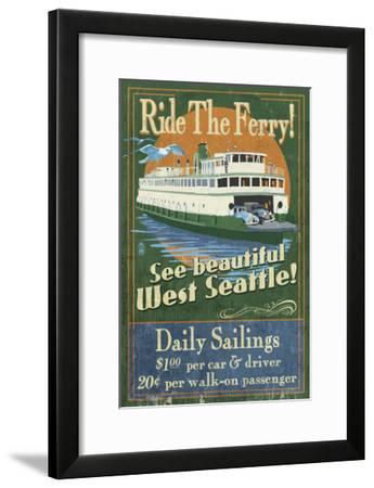 West Seattle Ferry-Lantern Press-Framed Art Print