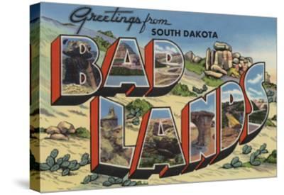 Greetings from Badlands, South Dakota-Lantern Press-Stretched Canvas Print
