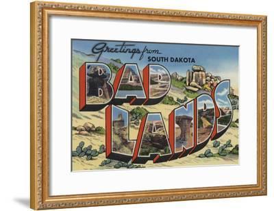 Greetings from Badlands, South Dakota-Lantern Press-Framed Art Print
