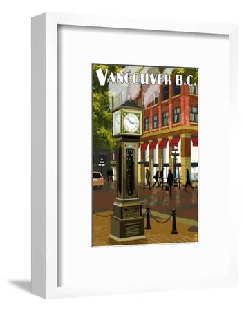 Vancouver, BC - Steam Clock-Lantern Press-Framed Art Print