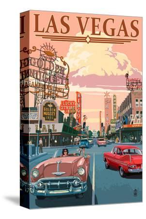 Las Vegas Old Strip Scene-Lantern Press-Stretched Canvas Print