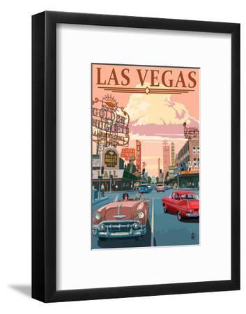 Las Vegas Old Strip Scene-Lantern Press-Framed Art Print