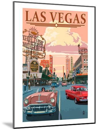Las Vegas Old Strip Scene-Lantern Press-Mounted Art Print