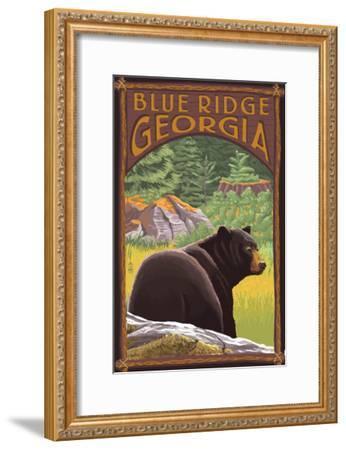 Blue Ridge, Georgia - Bear in Forest-Lantern Press-Framed Art Print