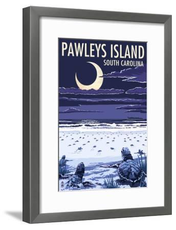 Pawleys Island, South Carolina - Baby Sea Turtles-Lantern Press-Framed Art Print