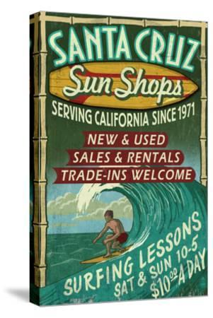 Santa Cruz, California - Sun Shops Surf Shop-Lantern Press-Stretched Canvas Print