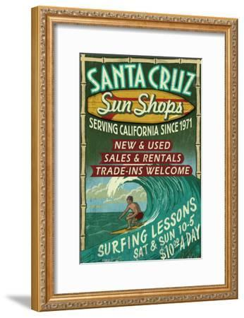 Santa Cruz, California - Sun Shops Surf Shop-Lantern Press-Framed Art Print