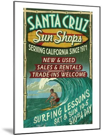 Santa Cruz, California - Sun Shops Surf Shop-Lantern Press-Mounted Art Print