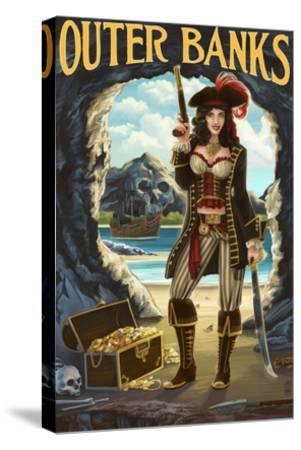 Outer Banks, North Carolina - Pirate Pinup Girl-Lantern Press-Stretched Canvas Print