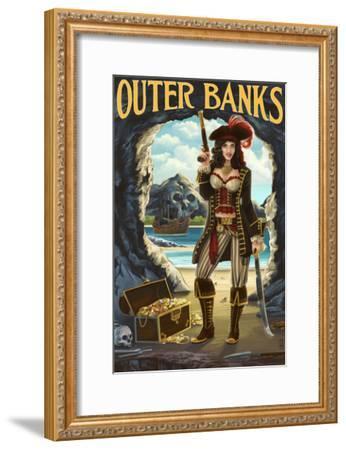 Outer Banks, North Carolina - Pirate Pinup Girl-Lantern Press-Framed Art Print