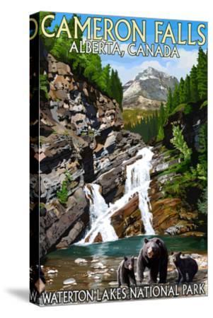 Waterton Lakes National Park, Canada - Cameron Falls and Bear Family-Lantern Press-Stretched Canvas Print