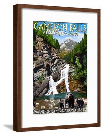 Waterton Lakes National Park, Canada - Cameron Falls and Bear Family-Lantern Press-Framed Art Print