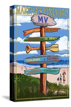 Martha's Vineyard - Destination Sign-Lantern Press-Stretched Canvas Print