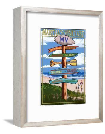 Martha's Vineyard - Destination Sign-Lantern Press-Framed Art Print