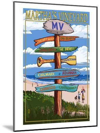 Martha's Vineyard - Destination Sign-Lantern Press-Mounted Art Print