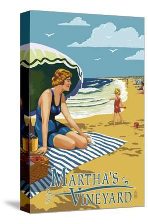 Martha's Vineyard - Woman on Beach-Lantern Press-Stretched Canvas Print