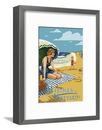 Martha's Vineyard - Woman on Beach-Lantern Press-Framed Art Print