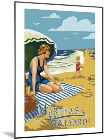 Martha's Vineyard - Woman on Beach-Lantern Press-Mounted Art Print
