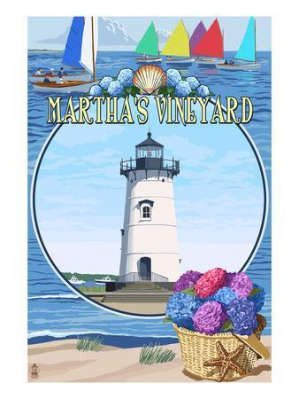 Martha's Vineyard - Montage Scenes-Lantern Press-Framed Art Print