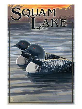Squam Lake, New Hampshire - Loon Scene-Lantern Press-Framed Art Print