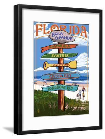Boca Grande, Florida - Sign Destinations-Lantern Press-Framed Art Print