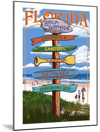 Boca Grande, Florida - Sign Destinations-Lantern Press-Mounted Art Print