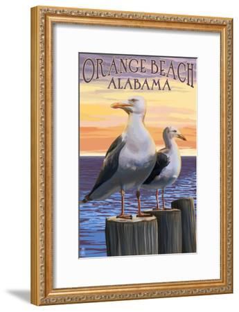 Orange Beach, Alabama - Seagulls-Lantern Press-Framed Art Print