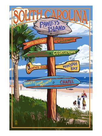 Pawleys Island, South Carolina - Sign Destinations-Lantern Press-Framed Art Print